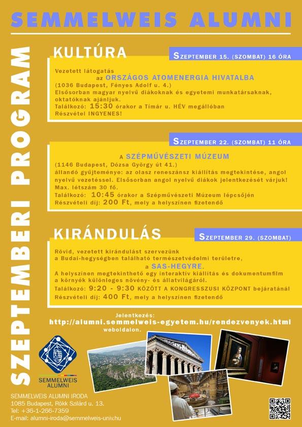 A Semmelweis Alumni 2012. szeptemberi programjai