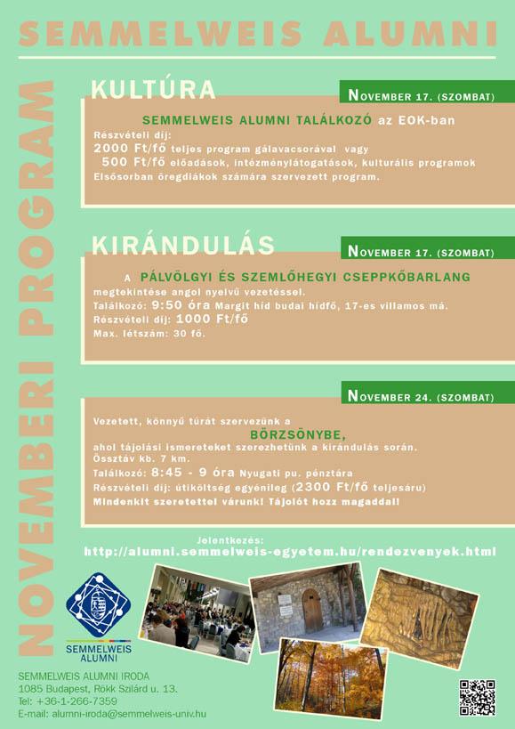 A Semmelweis Alumni 2012. novemberi programjai