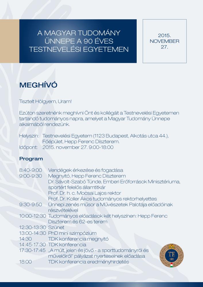 A Tudomány Napja 2015 (meghívó)