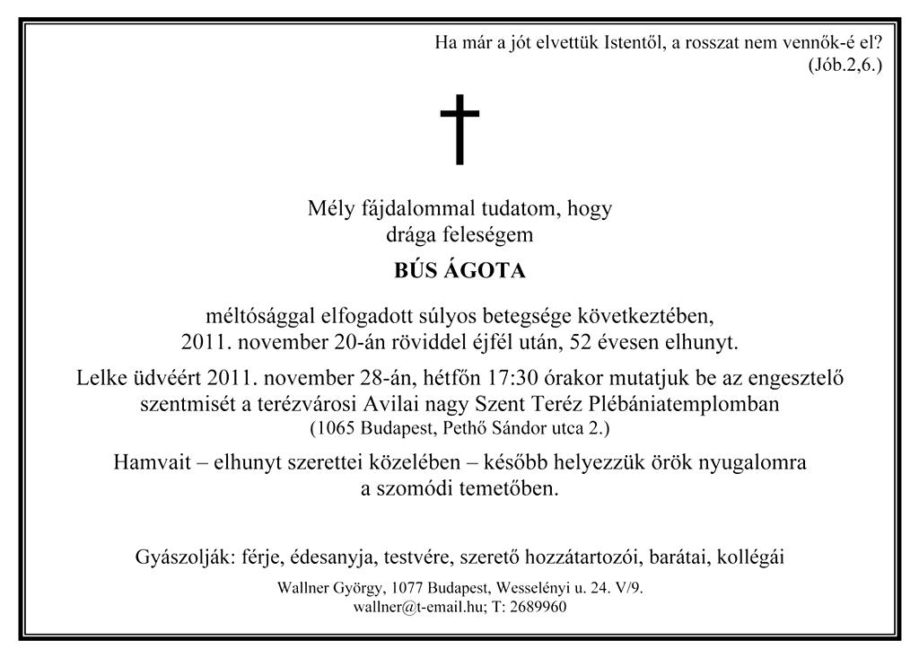 Bús Ágota gyászjelentése