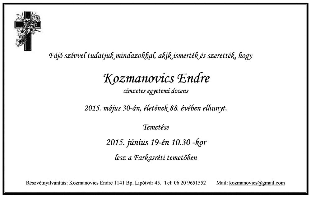 Kozmanovics Endre gyászjelentése