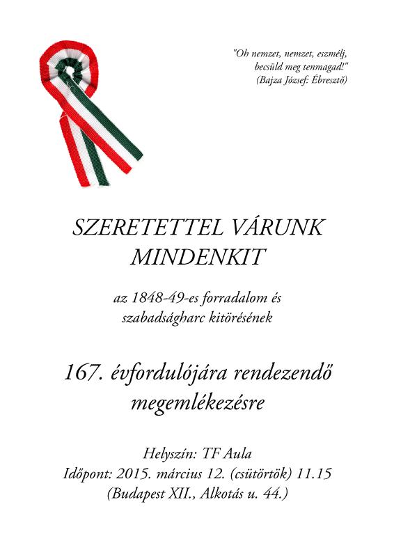 Meghívó a TF 48-as megemlékezésére (plakát) (2015)