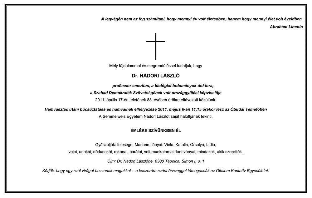 Dr. Nádori László gyászjelentése