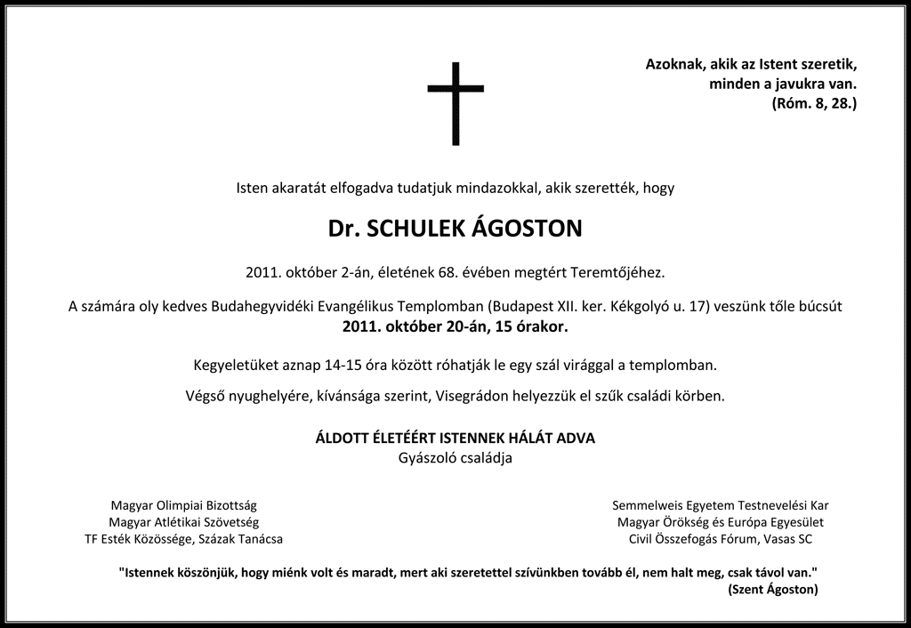 Dr. Schulek Ágoston temetése
