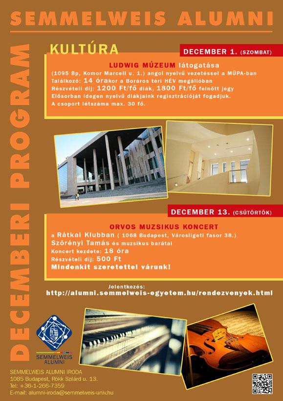 A Semmelweis Alumni decemberi programjai
