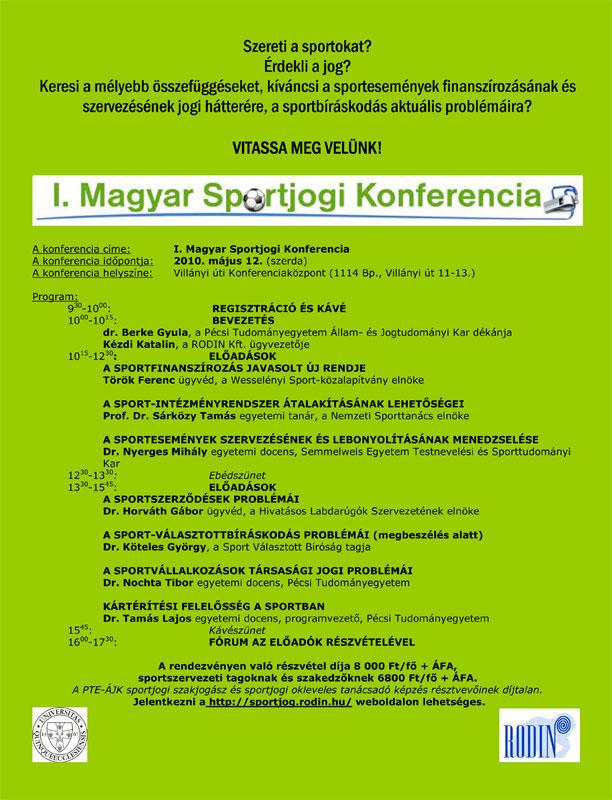 I. Magyar Sportjogi Konferencia (szórólap)