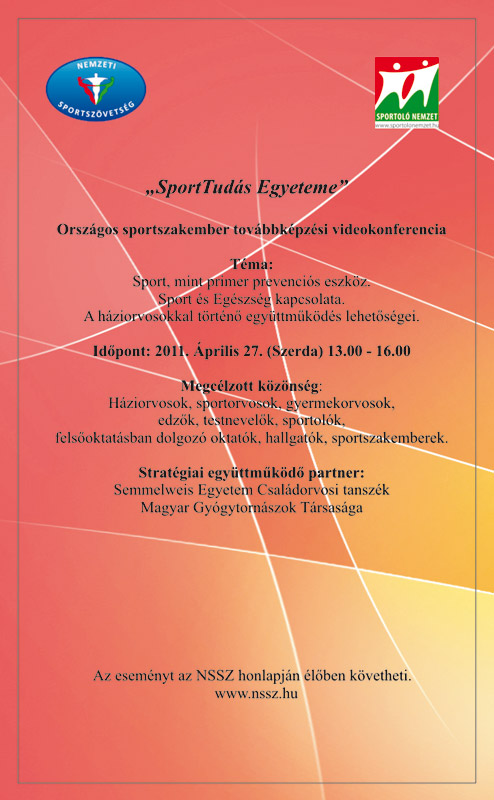 SportTudás Egyeteme videókonferencia (2011.04.27.)